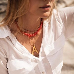 Jewelry - • COMING SOON •Alphabet bamboo pendant necklace